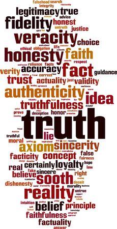 validez: Verdad palabra nube concepto. ilustración vectorial