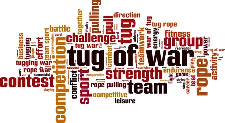 tug: Tug of war word cloud concept. Vector illustration