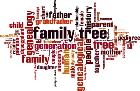 Family tree word cloud concept. Vector illustration Vectores