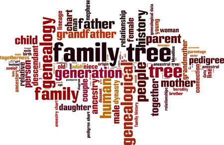 Rbol genealógico concepto de nube de palabras. ilustración vectorial Foto de archivo - 66830333