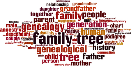 parentage: Family tree word cloud concept. Vector illustration Illustration
