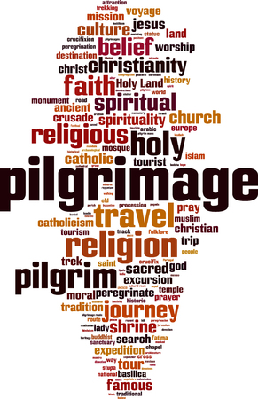 Pilgrimage word cloud concept. Vector illustration