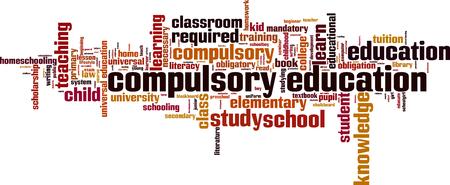homeschooling: Compulsory education word cloud concept. Vector illustration