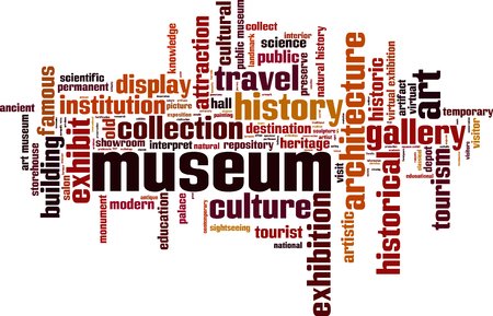 Museum word cloud concept. Vector illustration