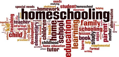 Homeschooling word cloud concept. Vector illustration