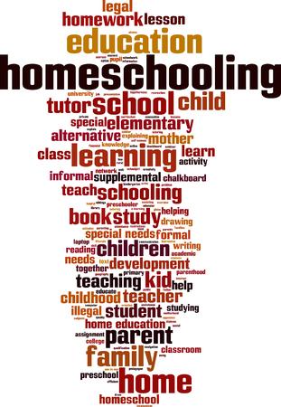 homeschooling: Homeschooling word cloud concept. Vector illustration Illustration