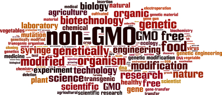 modification: Non-GMO word cloud concept. Vector illustration