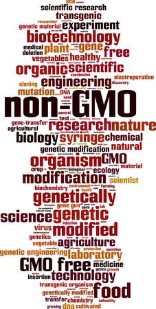 mutation: Non-GMO word cloud concept. Vector illustration