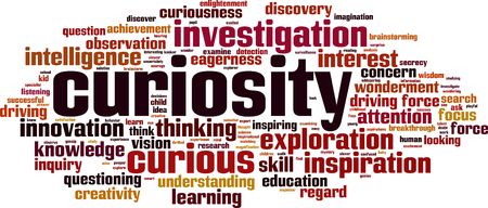 concerns: Curiosity word cloud concept. Vector illustration