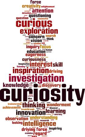 concern: Curiosity word cloud concept. Vector illustration