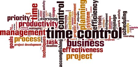 Time control word cloud concept. Vector illustration