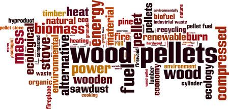 Wood pellets word cloud concept. Vector illustration Illustration