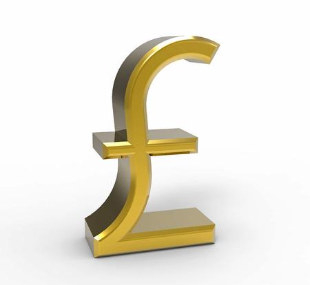 sterlina: Simbolo della sterlina, la moneta del Regno Unito, il rendering 3D