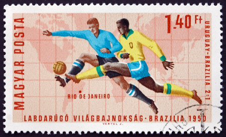 wembley: HUNGARY - CIRCA 1966: a stamp printed in Hungary shows Soccer Play, Rio de Janeiro (Uruguay 2, Brazil 1), World Cup Soccer Championship 1966, Wembley, England, circa 1966