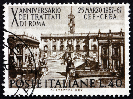 establishing: ITALY - CIRCA 1967: a stamp printed in Italy shows Seat of Parliament on Capitoline Hill, Rome, 10th Anniversary of the Treaty of Rome, Establishing the European Common Market, circa 1967 Editorial