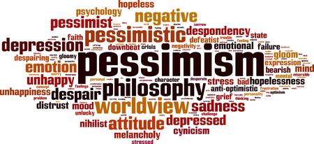 Pessimism word cloud concept. Vector illustration