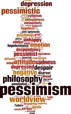 desconfianza: El pesimismo palabra nube concepto. ilustración vectorial Vectores