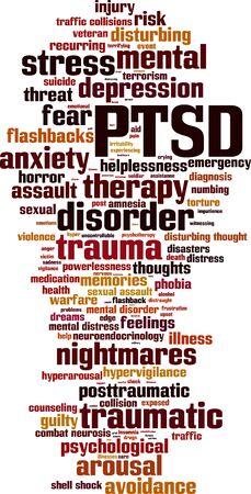 collisions: PTSD word cloud concept. Vector illustration
