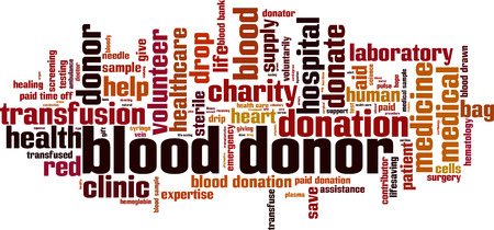 Blood donor word cloud concept. Vector illustration