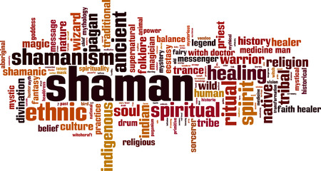 Shamanism word cloud concept. Vector illustration