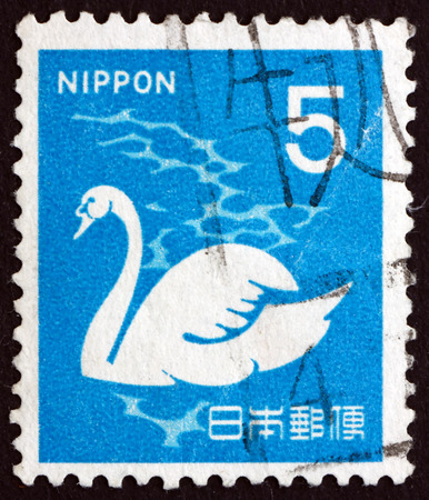 cygnus olor: JAPAN - CIRCA 1971: a stamp printed in Japan shows Mute Swan, Cygnus Olor, Bird, circa 1971