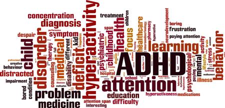 impatient: ADHD word cloud concept. Vector illustration