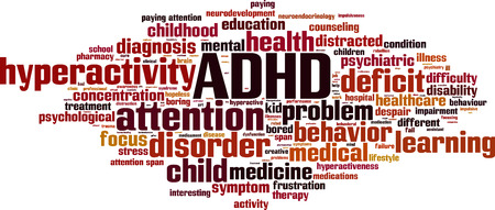 pay attention: ADHD word cloud concept. Vector illustration