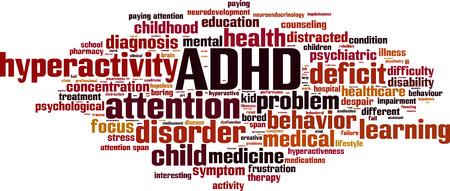 ADHD word cloud concept. Vector illustration