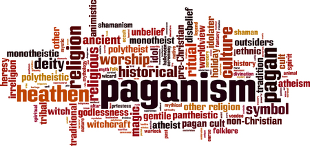 Paganism word cloud concept. Vector illustration