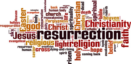 redemption: Resurrection word cloud concept. Vector illustration Illustration