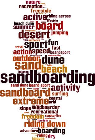 sand dune: Sandboarding word cloud concept. Vector illustration Illustration