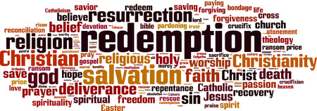 Redemption word cloud concept. Vector illustration