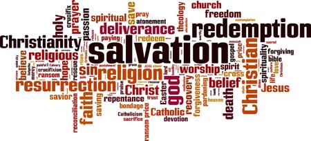 Salvation word cloud concept. Vector illustration