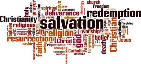 Salvation word cloud concept. Vector illustration