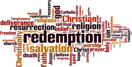 redemption: Redemption word cloud concept. Vector illustration