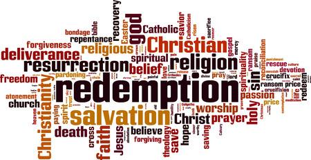 Redemption word cloud concept. Vector illustration