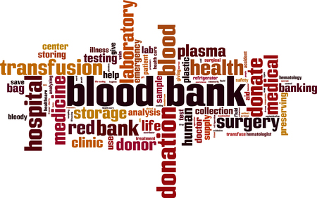 Blood bank word cloud concept. Vector illustration