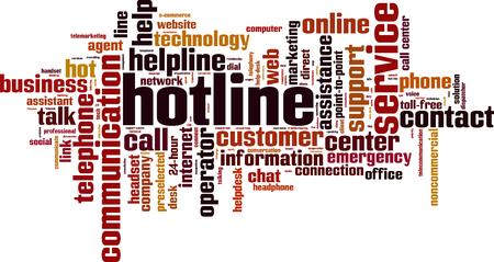 Hotline word cloud concept. Vector illustration Illustration