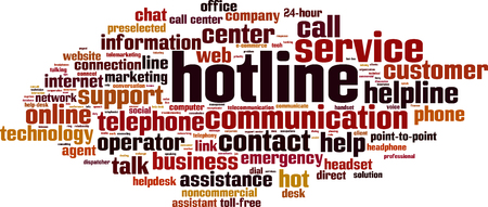 hotline: Hotline word cloud concept. Vector illustration Illustration