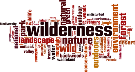 Wilderness word cloud concept. Vector illustration Illustration