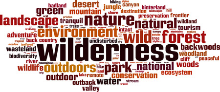 intact: Wilderness word cloud concept. Vector illustration Illustration