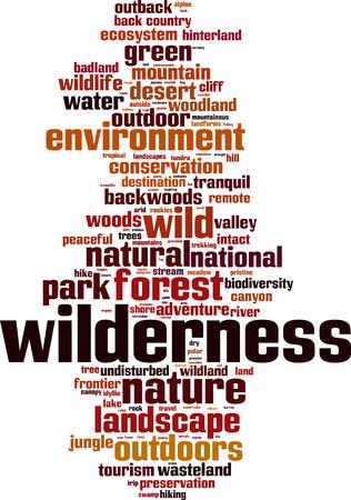 desert ecosystem: Wilderness word cloud concept. Vector illustration Illustration