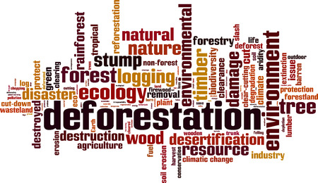 climatic: Deforestation word cloud concept. Vector illustration