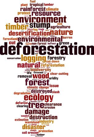 deforestacion: La deforestación palabra nube concepto. ilustración vectorial