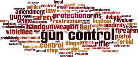 use pistol: Gun control word cloud concept. Vector illustration