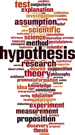 hipotesis: Hipótesis palabra nube concepto. ilustración vectorial