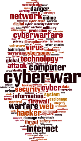 cyberwarfare: Cyberwar word cloud concept. Vector illustration Illustration