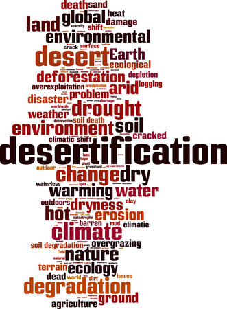 degradation: Desertification word cloud concept. Vector illustration Illustration