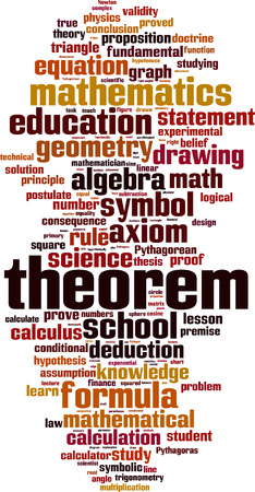 teorema: Teorema palabra nube concepto. ilustración vectorial Vectores