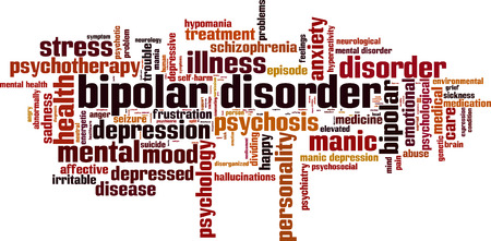 Bipolar disorder word cloud concept. Vector illustration